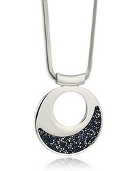 Kenneth Cole - Silver Large With Blue Sprinkle Stone Pendant Necklace - Lyst