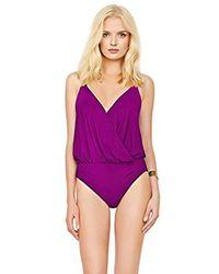 Gottex - Purple Solid V-neck Blouson One Piece Swimsuit - Lyst