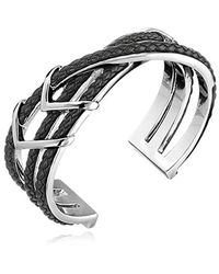 Cole Haan - Leather Items Black Chevron Metal And Braided Cuff Bracelet - Lyst