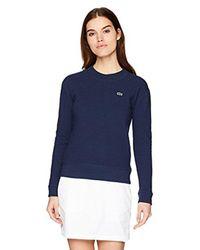 Lacoste - Blue Sport Long Sleeve Crewneck Stretch Cotton Sweatshirt, Sf3408 - Lyst
