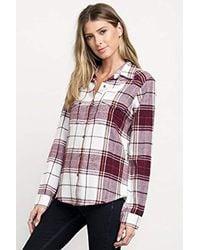 RVCA - Red Junior's Jig Long Sleeve Woven Button Front Shirt - Lyst