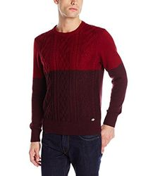 Dickies - Red Connor Color-block Fisherman Cable-knit Sweater for Men - Lyst