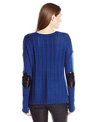 Buffalo David Bitton - Blue Bullette Sequin Elbow Patch Pullover Sweater - Lyst