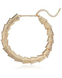 "Steve Madden - Metallic Textured Sectional Necklace, 15"" + 3"" Extender - Lyst"