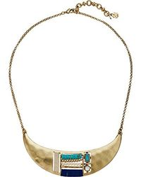 Lucky Brand - Metallic S Beaded Inset Collar Necklace - Lyst