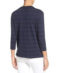 Lucky Brand Blue Shadow Stripe Mix Top