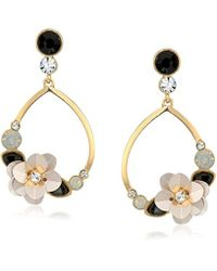 Guess - Metallic Floral La Femme Teardrop Ear With Stones And Sequin Flower Drop Earrings, Gold/jet, One Size - Lyst