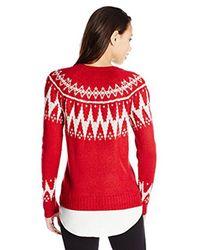 Kensie - Red Fair Isle Twofer Sweater - Lyst