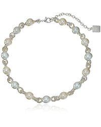 Anne Klein - Metallic Pearl And Around Collar Necklace - Lyst