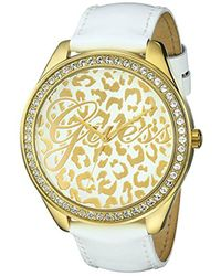 Guess - U0346l1 Iconic White Genuine Leather Watch With Gold-tone Case & Animal Print Dial - Lyst