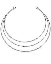 Guess - Metallic Ir Metal Choker Necklace, Silver - Lyst