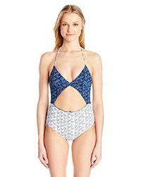 Dolce Vita - Blue Cloud Nine Cut Out One Piece Swimsuit - Lyst
