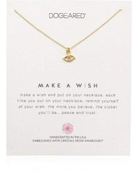 """Dogeared Metallic Make A Wish, Eye Swarovski Crystal Necklace, 16"""" + 2"""" Extension, 14k Gold Dipped 0.925 Sterling Silver"""