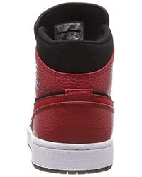 purchase cheap d267d 431c8 Nike Sneakers For Air Jordan 1 Mid In Red Leather 554724-054 in Red ...