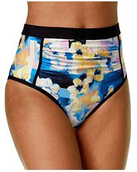 CALVIN KLEIN 205W39NYC - Blue Geo Floral High Waisted Shirred Bikini Bottom With Binding - Lyst