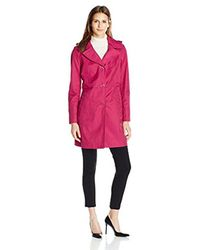 "Anne Klein - Pink 34"" Mid Length A-line Single Breasted Raincoat - Lyst"