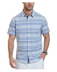 27be534dfe Lyst - Nautica Short Sleeve Classic Fit Striped Button Down Shirt in ...
