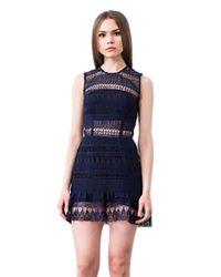 Karina Grimaldi | Blue Felicia Lace Mini Dress In Indigo | Lyst