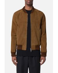 AMI - Brown Suede Bomber Jacket for Men - Lyst