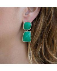 Anne Sisteron - Green 14kt Yellow Gold Chrysoprase Diamond Chrysa Earrings - Lyst