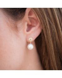 Anne Sisteron - Metallic 14kt White Gold Diamond Sunburst Pearl Drop Stud Earrings - Lyst