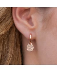 Anne Sisteron - Pink 14kt Rose Gold Small Diamond Swinging Pear Huggie Earrings - Lyst