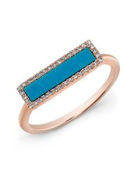 Anne Sisteron - Blue 14kt Rose Gold Turquoise Diamond Bar Ring - Lyst