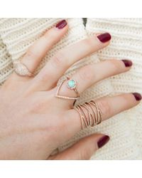 Anne Sisteron - Metallic 14kt Rose Gold White Opal Diamond Solitaire Ring - Lyst