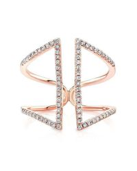 Anne Sisteron - Metallic 14kt Rose Gold Diamond Double Bar Angled Ring - Lyst