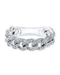 Anne Sisteron - Metallic 14kt White Gold Diamond Thin Chain Link Ring - Lyst