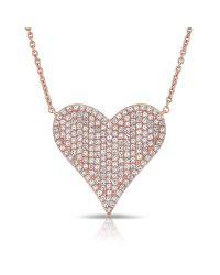 Anne Sisteron | Multicolor 14kt Rose Gold Diamond Large Pave Heart Necklace | Lyst