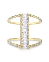 Anne Sisteron | Metallic 14kt Yellow Gold Baguette Diamond H Ring | Lyst