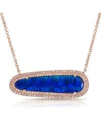 Anne Sisteron - Blue 14kt Rose Gold One Of A Kind Opal Diamond Oval Double Halo Necklace - Lyst