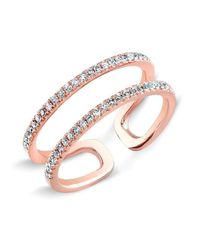 Anne Sisteron | Multicolor 14kt Rose Gold Diamond Double Bar Ring | Lyst