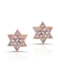 Anne Sisteron | Metallic 14kt Rose Gold Large Jewish Star Stud Earrings | Lyst