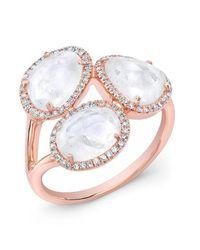 Anne Sisteron | Metallic 14kt Rose Gold Moonstone Diamond Trinity Ring | Lyst