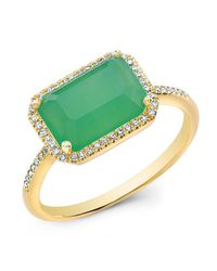 Anne Sisteron | Metallic 14kt Yellow Gold Chrysoprase Diamond Chic Ring | Lyst