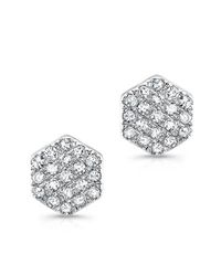 Anne Sisteron | Metallic 14kt White Gold Hexagon Diamond Stud Earrings | Lyst