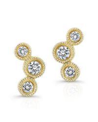 Anne Sisteron   Metallic 14kt Yellow Gold Bezel Set Diamond Hazel Earrings   Lyst
