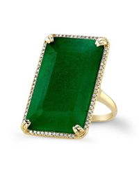 Anne Sisteron | Green 14kt Yellow Gold Emerald Diamond Rectangle Cocktail Ring | Lyst