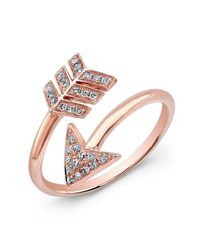 Anne Sisteron | Multicolor 14kt Rose Gold Diamond Wrap Around Arrow Ring | Lyst
