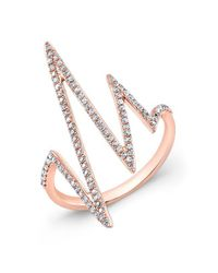 Anne Sisteron | Metallic 14kt Rose Gold Diamond Heartbeat Ring | Lyst