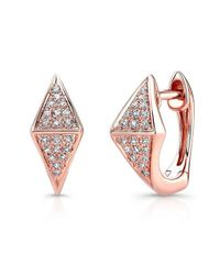 Anne Sisteron | Multicolor 14kt Rose Gold Diamond Double Triangle Huggie Earrings | Lyst