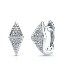 Anne Sisteron | Metallic 14kt White Gold Diamond Double Triangle Huggie Earrings | Lyst