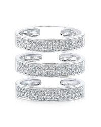 Anne Sisteron   Metallic 14kt White Gold Diamond Large Triple Bar Ring   Lyst