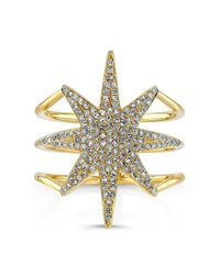 Anne Sisteron | Metallic 14kt Yellow Gold Diamond Star Ring | Lyst