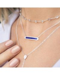 Anne Sisteron - Blue 14kt Yellow Gold Lapis Diamond Bar Necklace - Lyst