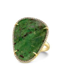 Anne Sisteron - Green 14kt Yellow Gold Blood Stone Diamond Organic Shape Cocktail Ring - Lyst