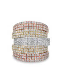 Anne Sisteron | Metallic 14kt Rose And Yellow And White Gold Diamond Natalia Multi Band Ring | Lyst