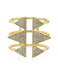 Anne Sisteron | Metallic 14kt Yellow Gold Diamond Triple Spike Ring | Lyst